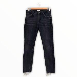 Zara Black Skinny Jeans Stretch Denim Raw Hem Size 6